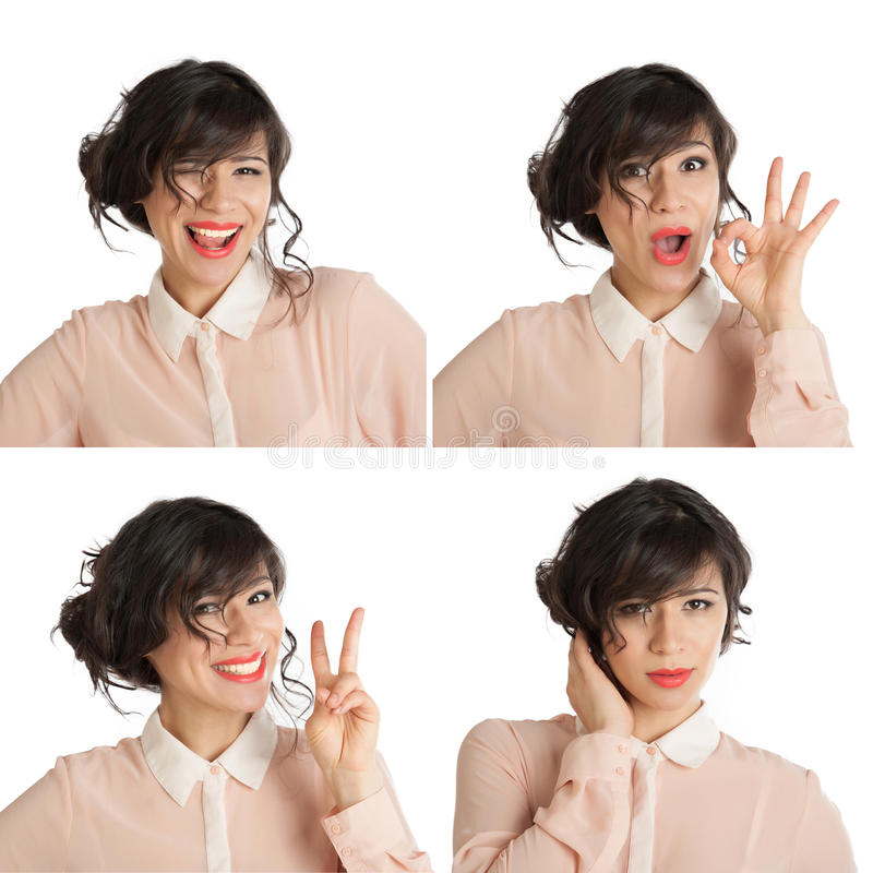 Collage of many expressions. Of a woman on a white background royalty free stock image