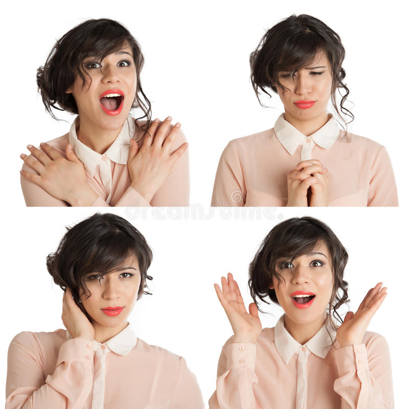 Collage of many expressions. Of a woman on a white background stock image