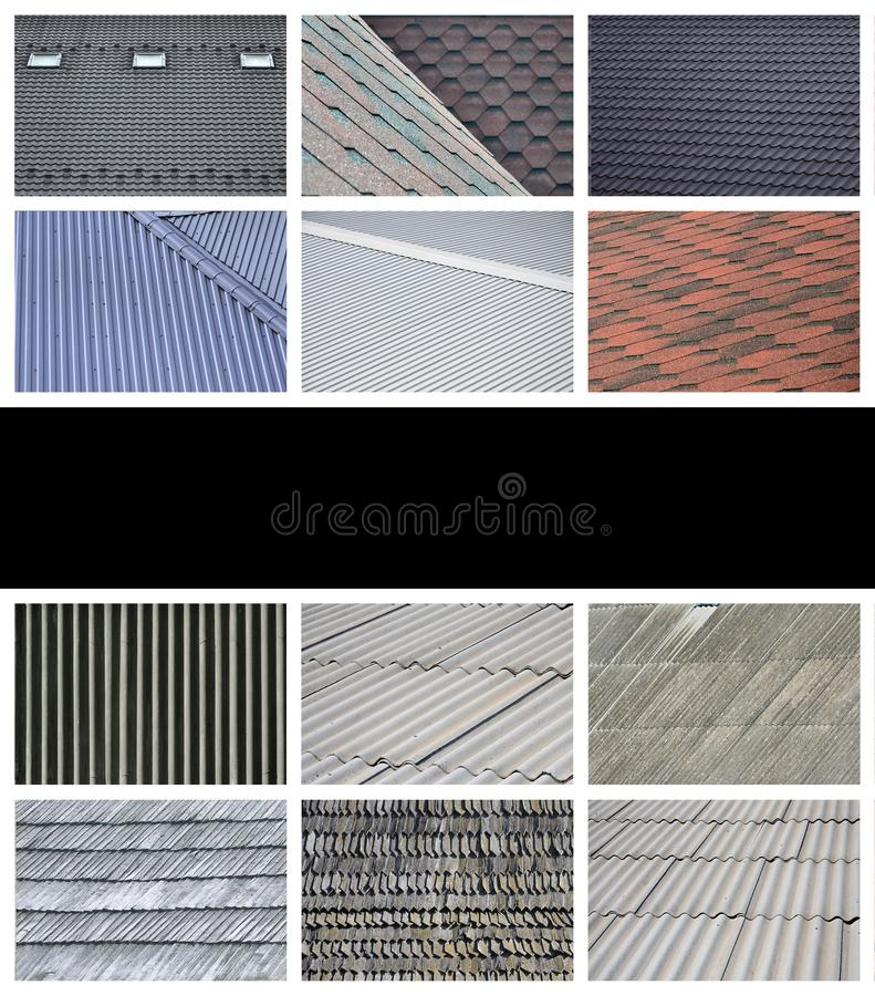 A collage of many pictures with fragments of various types of roofing close up. A set of images with roof coating textures royalty free illustration