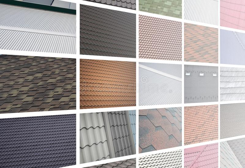 A collage of many pictures with fragments of various types of roofing close up. A set of images with roof coating textures royalty free stock photos