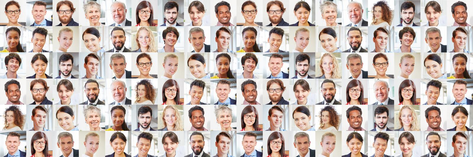 Many portraits of business people as international team stock photography