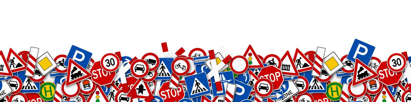 Collage of many road sign illustration. Isolated on white background stock illustration
