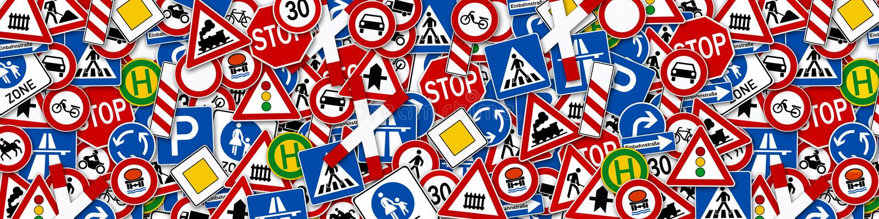 Collage of many road sign illustration stock illustration