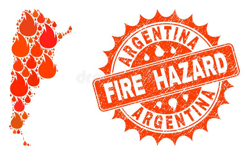 Collage of Map of Argentina Burning and Fire Hazard Grunge Stamp Seal royalty free illustration