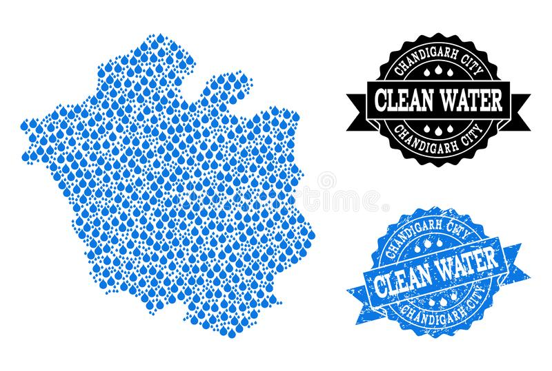 Collage Map of Chandigarh City with Water Dews and Grunge Stamp Seal vector illustration