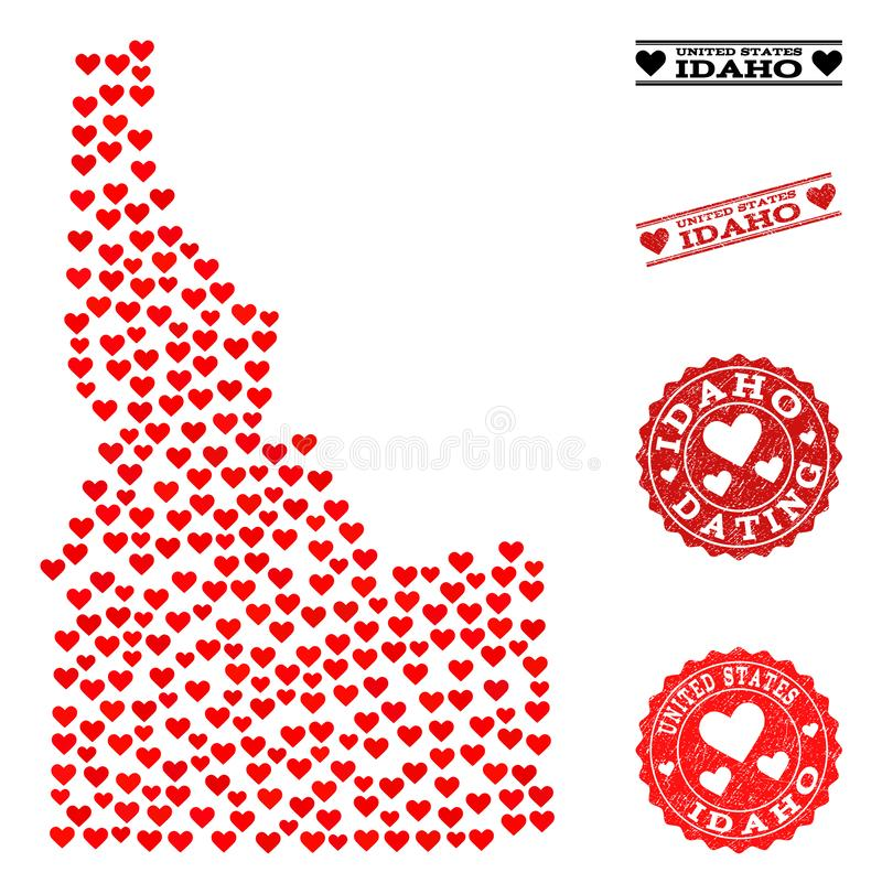 Love Mosaic Map of Idaho State and Grunge Stamps for Valentines. Collage map of Idaho State designed with red love hearts, and grunge watermarks for dating royalty free illustration