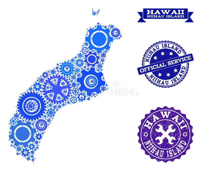 Collage Map of Niihau Island with Gears and Grunge Seals for Service. Map of Niihau Island designed with blue gear symbols, and isolated grunge watermarks for royalty free illustration