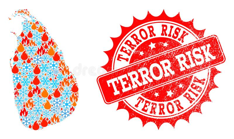 Collage Map of Sri Lanka of Fire and Snow and Terror Risk Grunge Seal. Composition of winter and flame map of Sri Lanka and Terror Risk grunge stamp seal. Mosaic royalty free illustration