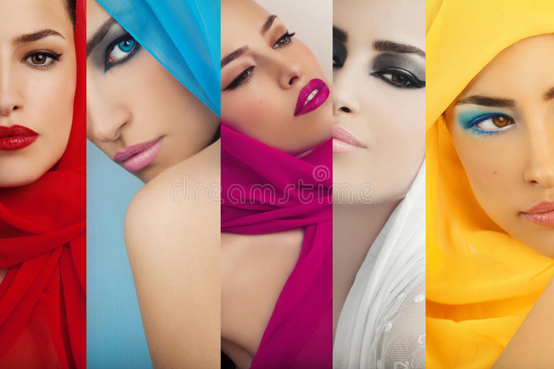 Collage, maquillage et mode de beauté photographie stock libre de droits