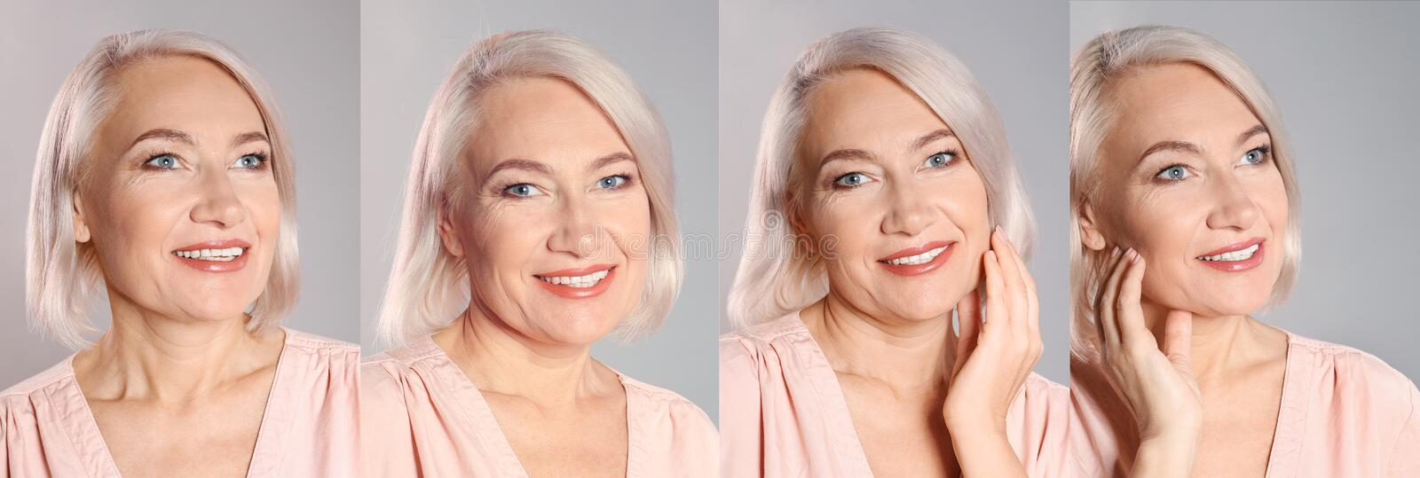 Collage of mature woman with beautiful face stock photography