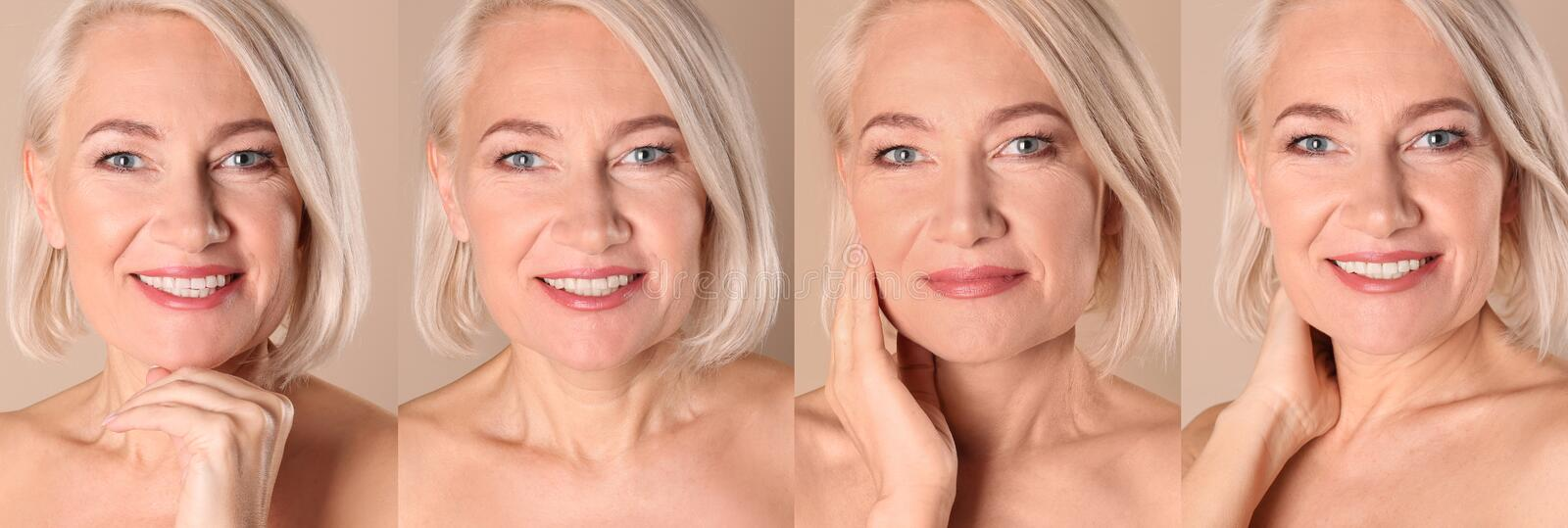 Collage of mature woman with beautiful face stock image