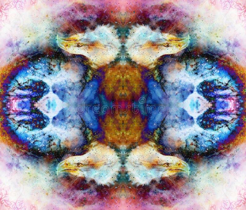 Collage med örnhuvudet och prydnader på flerfärgad abstrakt bakgrund royaltyfri illustrationer