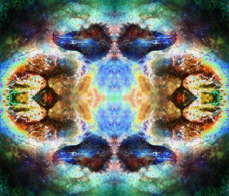 Collage med örnhuvudet och prydnader på flerfärgad abstrakt bakgrund vektor illustrationer