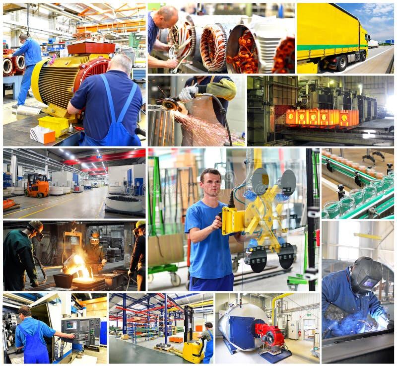 Collage med arbetare i bransch och transport på arbetsplatsen royaltyfria bilder