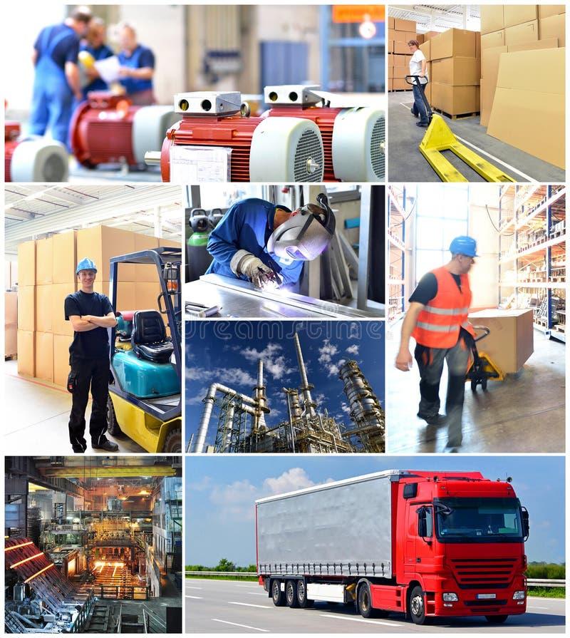 Collage med arbetare i bransch och transport på arbetsplatsen fotografering för bildbyråer