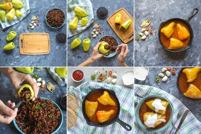Collage med att laga mat välfylld peppar med lösa ris och grönsaker fotografering för bildbyråer
