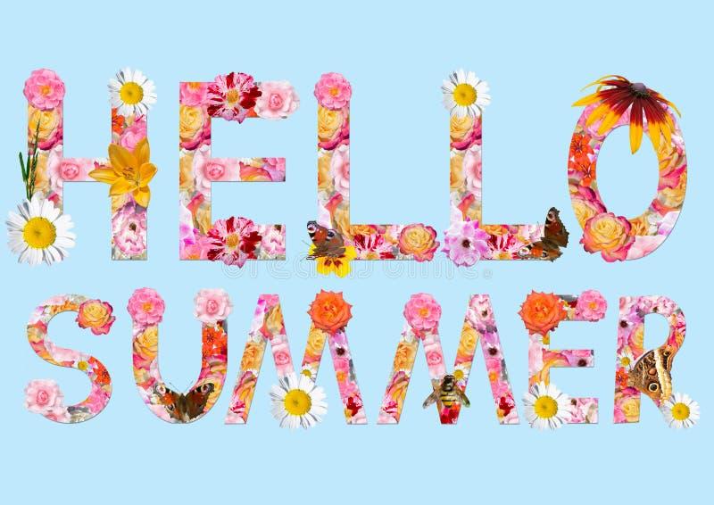 Collage med blommor och fjärilar Text: Hello sommar! royaltyfri illustrationer