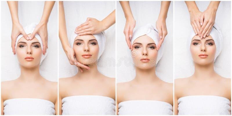 Collage med den unga och sunda kvinnan som kopplar av i brunnsortsalong Flicka som får traditionell orientalisk aromterapi och arkivfoton
