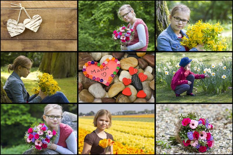 Collage med flickan, blommor och hjärtor royaltyfri fotografi