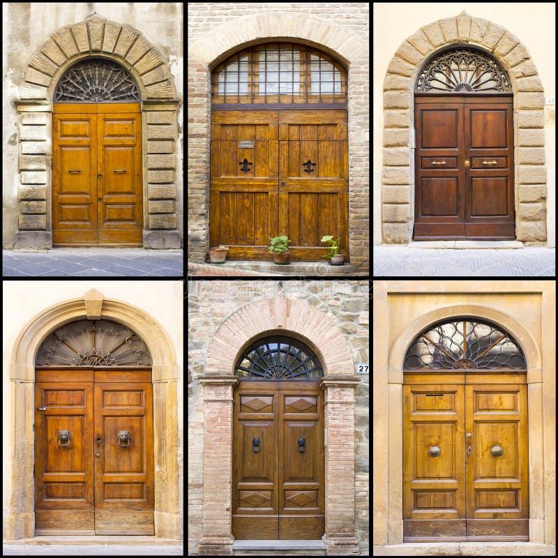Collage med gamla italienska dörrar royaltyfri bild