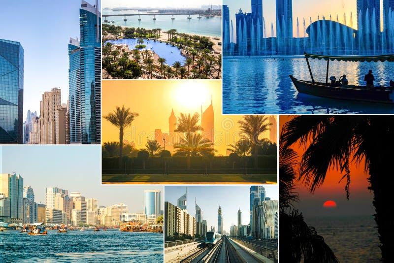 Collage med härliga sikter av Dubai arkivfoto