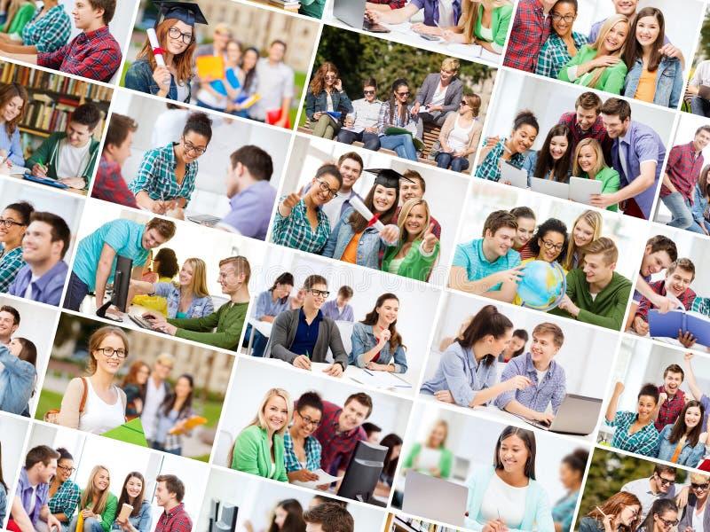 Collage med många bilder av högskolestudenter royaltyfri bild