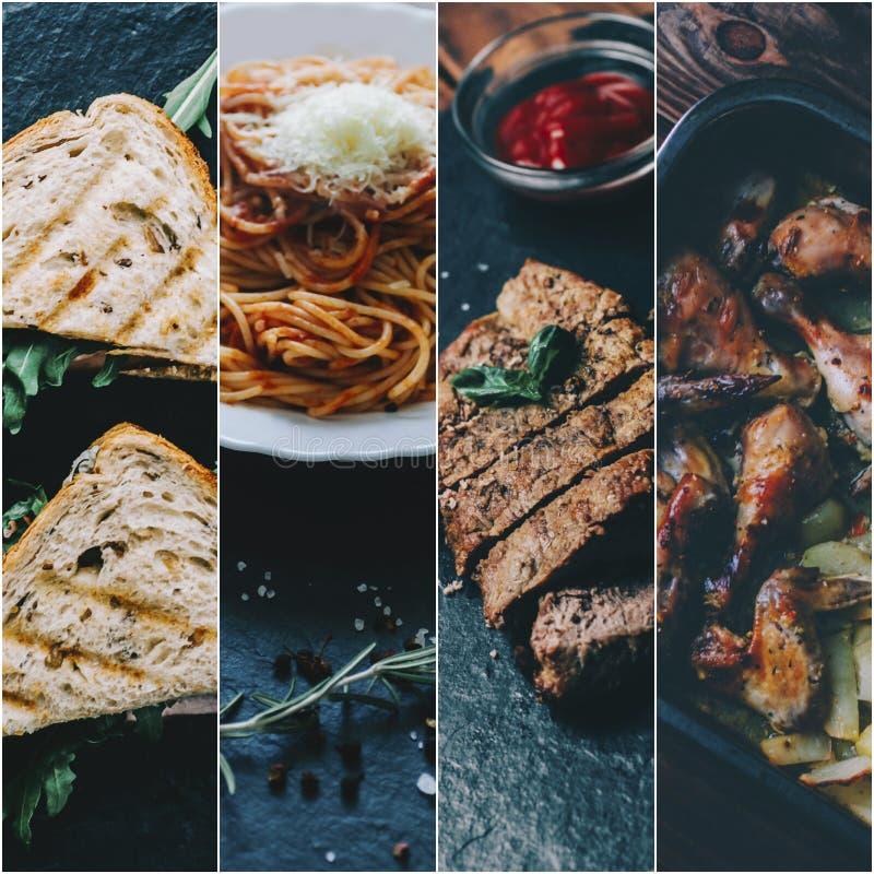 Collage med mat royaltyfria bilder