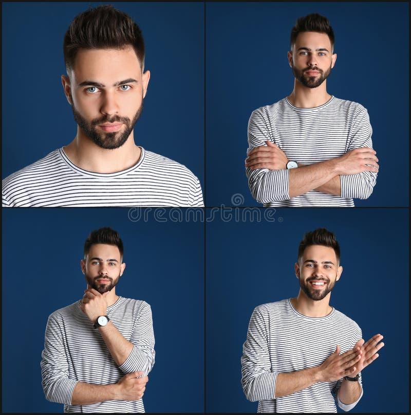 Collage med stående av den stiliga mannen på blått arkivbild