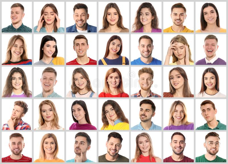 Collage med stående av emotionellt folk på vit royaltyfri fotografi