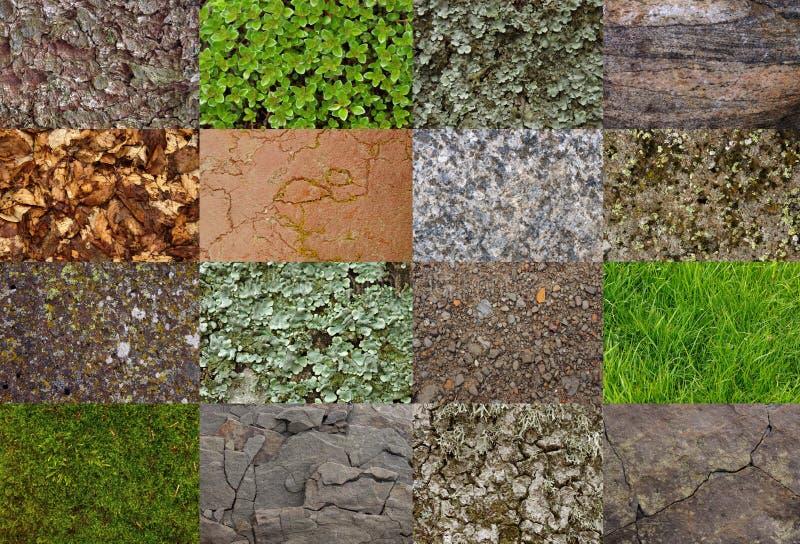 Collage med texturer från bergområdet royaltyfri foto