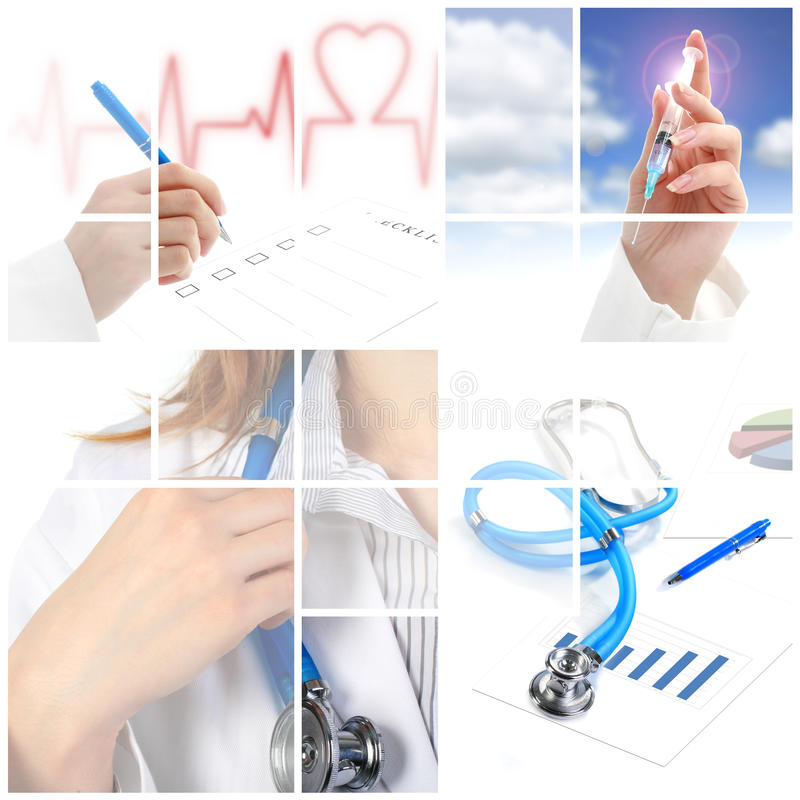 Collage. Medical concept over white background. royalty free stock photography