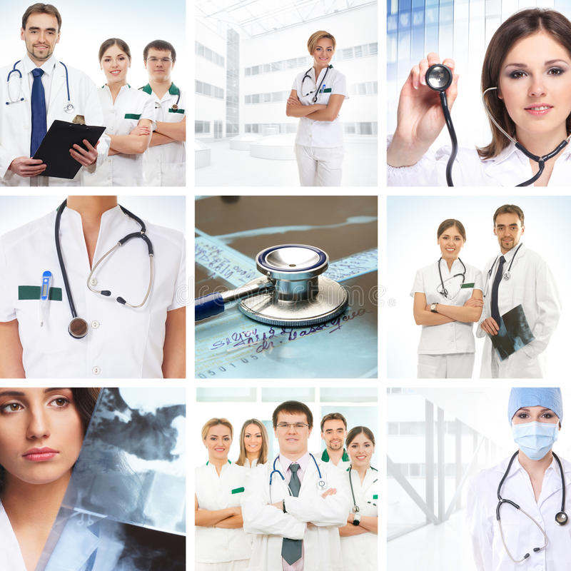 A collage of medical images with young doctors royalty free stock photography