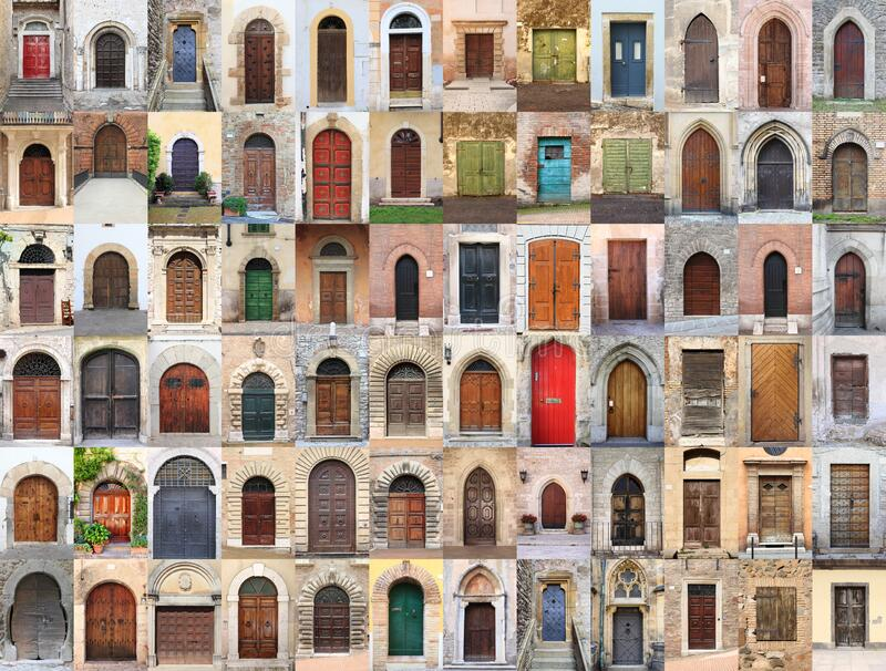 Collage of medieval front doors stock photo