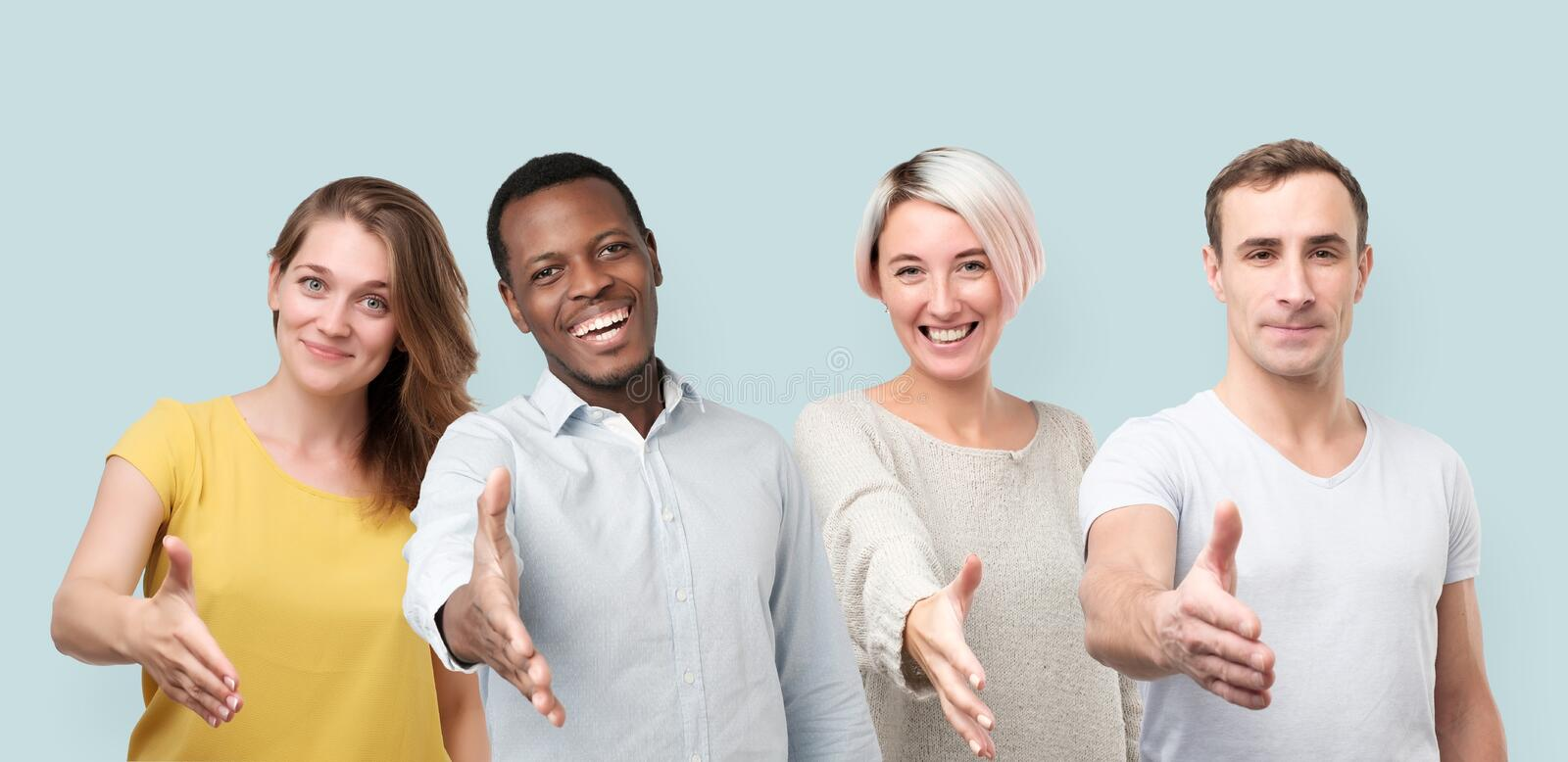Collage of men and women giving hand for shaking. Welcoming their new coworker. Positive facial human emotion stock image