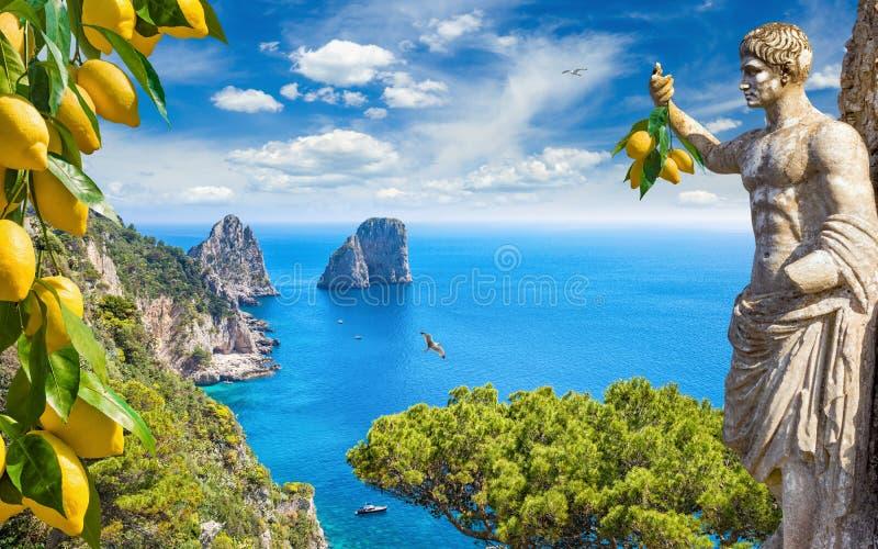 Collage met aantrekkelijkheden van Capri-Eiland, Italië royalty-vrije stock afbeelding