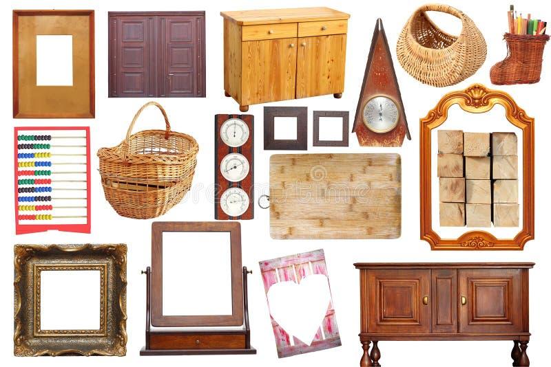 Collage met antieke houten voorwerpen royalty-vrije stock afbeelding