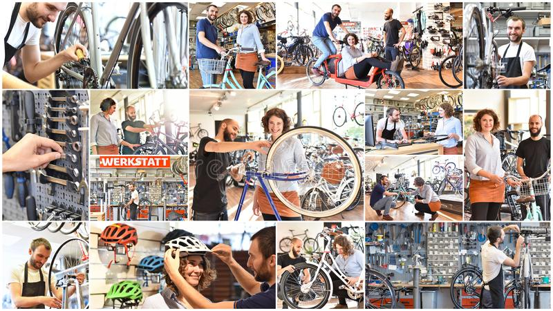 Collage met beelden in fietswinkel: verkoop en reparatie - na-s stock foto