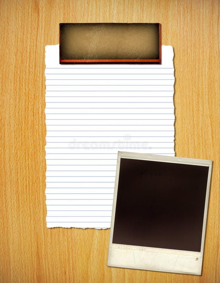Collage met document en frame stock afbeeldingen