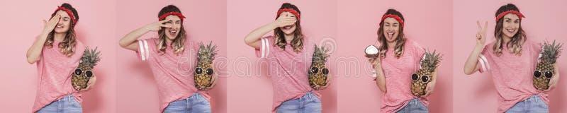 Collage met een jonge vrouw met verschillende emoties royalty-vrije stock afbeeldingen
