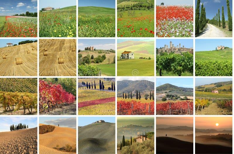 Collage met fantastisch landschap van Toscanië stock fotografie