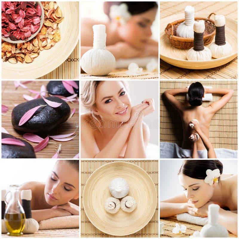 Collage met het jonge en gezonde vrouw ontspannen in kuuroordsalon Meisje die traditionele oosterse aromatherapie krijgen en royalty-vrije stock afbeelding