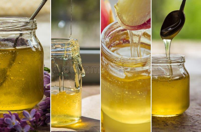 Collage met honing in een glaskruik stock fotografie