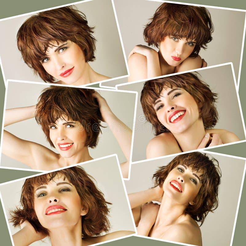 Collage met jonge mooie vrouw royalty-vrije stock afbeelding