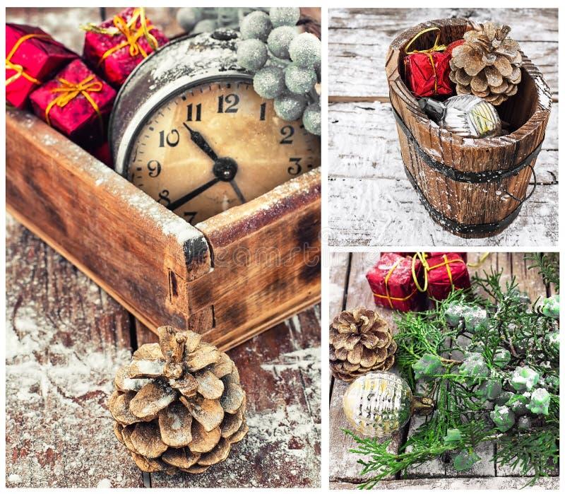 Collage met Kerstmisdecoratie en een oude wekker stock afbeelding