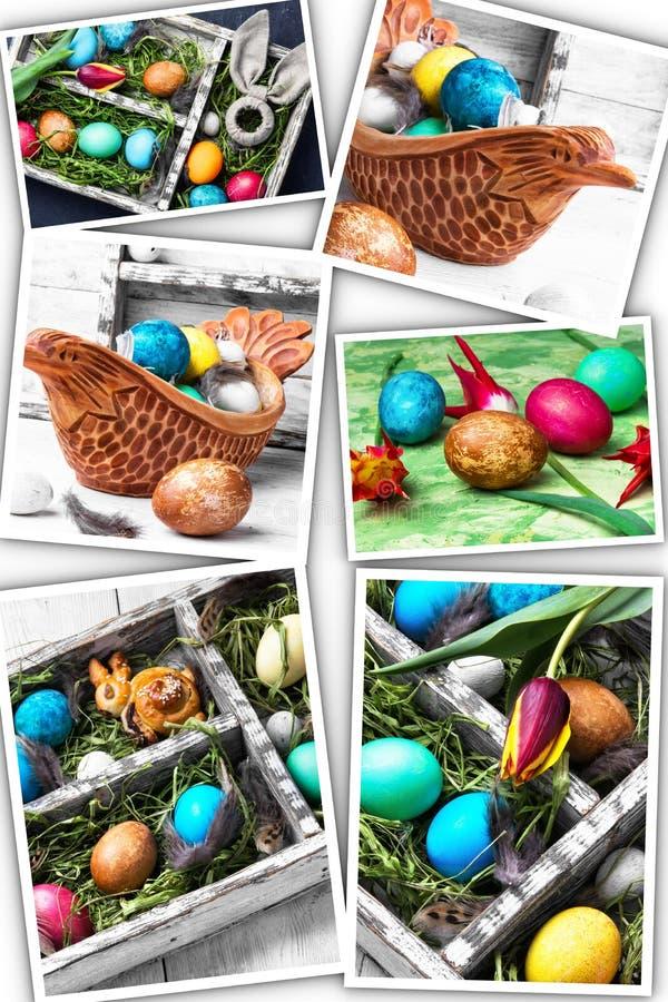 Collage met kleurrijke paaseieren stock afbeeldingen