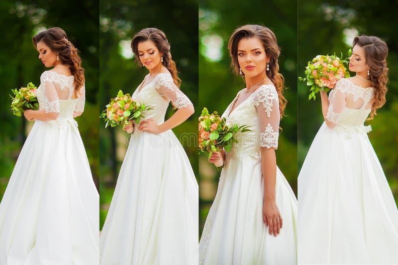 Collage met mooie bruid openlucht stock afbeeldingen