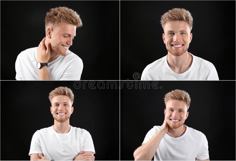 Collage met portretten van de knappe mens op zwarte stock afbeelding