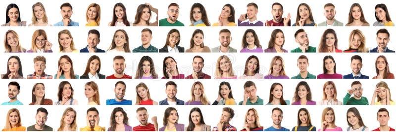 Collage met portretten van emotionele mensen op wit royalty-vrije stock afbeeldingen