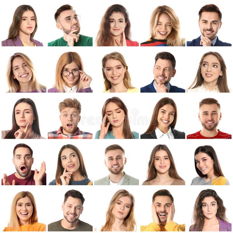 Collage met portretten van mensen op wit royalty-vrije stock afbeeldingen