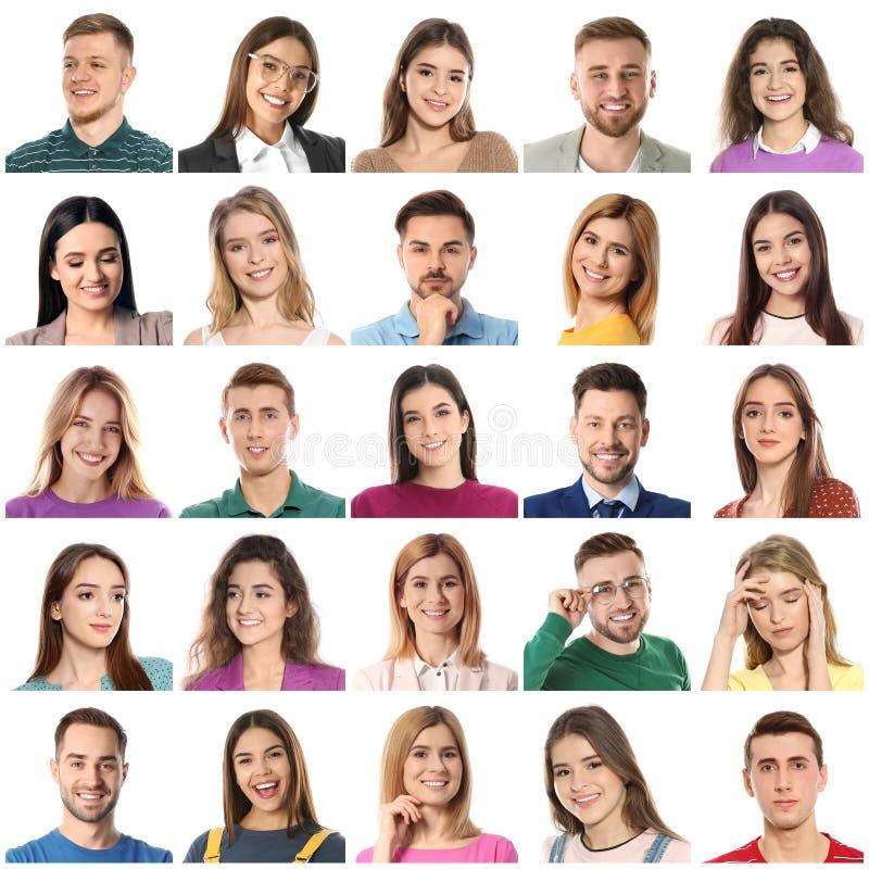 Collage met portretten van mensen op wit stock afbeelding